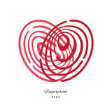 Fingerprint Red Heart  On White Background. Creative Fingerprint Red Heart Icon  On White Background Royalty Free Stock Image