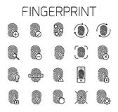 Fingerprint related vector icon set. Well-crafted sign in thin line style with editable stroke. Vector symbols isolated on a white background. Simple Royalty Free Stock Image