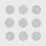 Fingerprint. Round Fingerprint Patterns Detailed for Identity Person Security ID on Gray Background Stock Photos