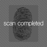 Fingerprint scan. On an abstract background Stock Photo