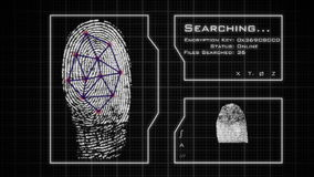 Fingerprint scan, analysis, and database search. Cybersecurity.