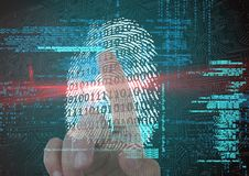 Fingerprint scan with binary code and red flare. finger on back Royalty Free Stock Image