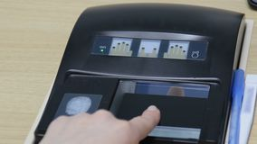 Fingerprint scan with biometrics identification. Fingerprint scan provides security access with biometrics identification. Close-up of female touching screen stock video