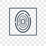Fingerprint scan concept vector linear icon isolated on transparent background, Fingerprint scan concept transparency logo in out royalty free illustration