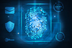 Fingerprint scan. Digital fingerprint scan cybersecurity screen Royalty Free Stock Photo