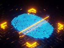 Fingerprint scan digital. 3D illustration. Fingerprint integrated in a printed Royalty Free Stock Images