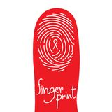 Fingerprint scan on finger silhouette set with Red Ribbon symbol. AIDS awareness concept idea illustration  on white background, and Fingerprint text with copy Stock Photography