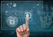 Fingerprint scan in a futuristic screen, only finger Royalty Free Stock Photos
