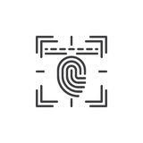 Fingerprint scan line icon, outline vector sign Stock Photos