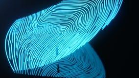 Fingerprint scan provides security access with biometrics identification. Concept Fingerprint protection. Curved. Fingerprint. Concept of digital security, 3D royalty free illustration