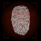 Fingerprint scan. On red background Royalty Free Stock Photos