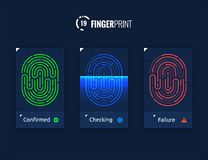 Fingerprint Scan Technology Icons Set. Digital vector fingerprint scanner technology icons for web and mobile usage Royalty Free Stock Image