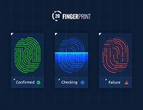 Fingerprint Scan Technology Icons Set. Digital vector fingerprint scanner technology icons for web and mobile usage Royalty Free Stock Images