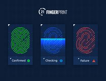 Fingerprint Scan Technology Icons Set. Digital vector fingerprint scanner technology icons for web and mobile usage Stock Photos