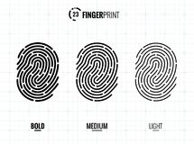 Fingerprint Scan Vector Icons Set. Digital vector fingerprint scan icons in 3 different sizes of thickness Stock Photography