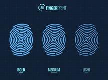Fingerprint Scan Vector Icons Set. Digital vector fingerprint scan icons in 3 different sizes of thickness Royalty Free Stock Photography