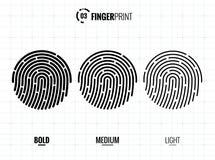 Fingerprint Scan Vector Icons Set. Digital vector fingerprint scan icons in 3 different sizes of thickness Stock Photos