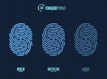 Fingerprint Scan Vector Icons Set. Digital vector fingerprint scan icons in 3 different sizes of thickness Royalty Free Stock Images