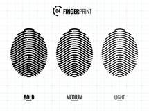 Fingerprint Scan Vector Icons Set. Digital vector fingerprint scan icons in 3 different sizes of thickness Stock Photo