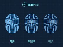 Fingerprint Scan Vector Icons Set. Digital vector fingerprint scan icons in 3 different sizes of thickness Royalty Free Stock Photography