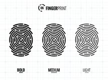 Fingerprint Scan Vector Icons Set vector illustration