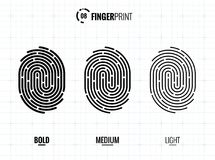 Fingerprint Scan Vector Icons Set. Digital vector fingerprint scan icons in 3 different sizes of thickness Royalty Free Stock Photos
