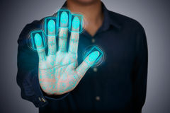 Fingerprint scaning. Futuristic fingerprint scanning device biometric security system Stock Photography