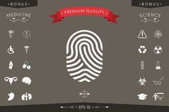 Fingerprint. Scanned finger icon. Signs and symbols - graphic elements for your design Stock Photo