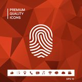 Fingerprint. Scanned finger icon. Sings and symbols. Graphic elements for your design Royalty Free Stock Photos