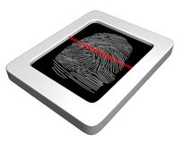 Fingerprint scanner. Illustration of a fingerprint scanner with a red laser scanning the image Stock Photo