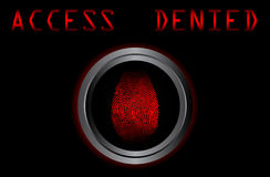 Fingerprint on scanner access denied  Royalty Free Stock Photos