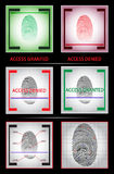 Fingerprint scanner. Access granted denied. Set. Vector illustration  Stock Photography