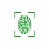 Fingerprint on scanner access. Fingerprint green icon image vector illustration design Stock Images