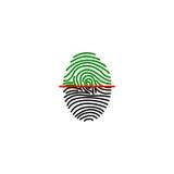 Fingerprint on scanner access. Fingerprint green icon image vector illustration design Stock Image
