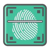 Fingerprint scanner colorful line icon, id Stock Photos