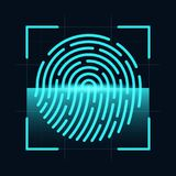 Fingerprint scanner concept. Digital and cyber security, biometric authorization. Fingerprint on scanning screen. Vector Stock Photos