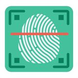 Fingerprint scanner flat icon, id and security. Vector graphics, a colorful solid pattern on a white background, eps 10 Royalty Free Stock Photography