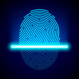 Fingerprint scanner. Identification system illustration Stock Photography