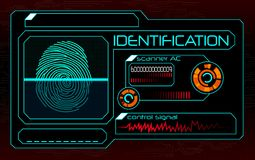 Fingerprint scanner, identification system. Illustration of Fingerprint scanner, identification system Stock Photos