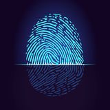 Fingerprint scanner. Identification system. Vector Stock Photo