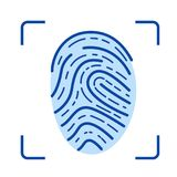 Fingerprint scanner line icon. Fingerprint scanner line icon isolated on white background. Fingerprint scanner line icon for infographic, website or app. Blue Royalty Free Stock Photos