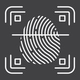 Fingerprint scanner line icon, id and security. Vector graphics, a linear pattern on a black background, eps 10 Royalty Free Stock Image