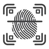 Fingerprint scanner line icon, id and security Stock Photography
