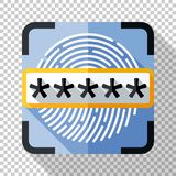 Fingerprint scanner and password field icon in flat style on transparent background. Fingerprint scanner and password field icon in flat style with long shadow royalty free illustration