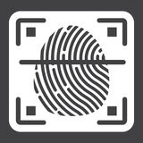 Fingerprint scanner solid icon, id and security. Vector graphics, a glyph pattern on a black background, eps 10 Stock Photos