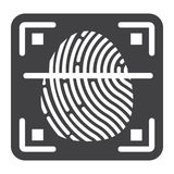 Fingerprint scanner solid icon, id and security. Vector graphics, a glyph pattern on a white background, eps 10 Stock Photo