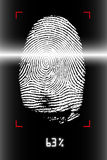 Fingerprint scanning. Biometrics scanning of human fingerprint Stock Image