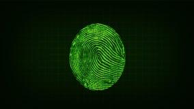 Fingerprint scanning and biometric data analysis process vector illustration