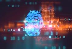 Fingerprint Scanning on blue technology  Illustration. Finger print Scanning Identification System. Biometric Authorization and Business Stock Photo