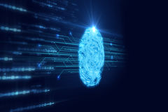 Fingerprint Scanning on blue technology  Illustration. Finger print Scanning Identification System. Biometric Authorization and Business Security Concept Stock Image